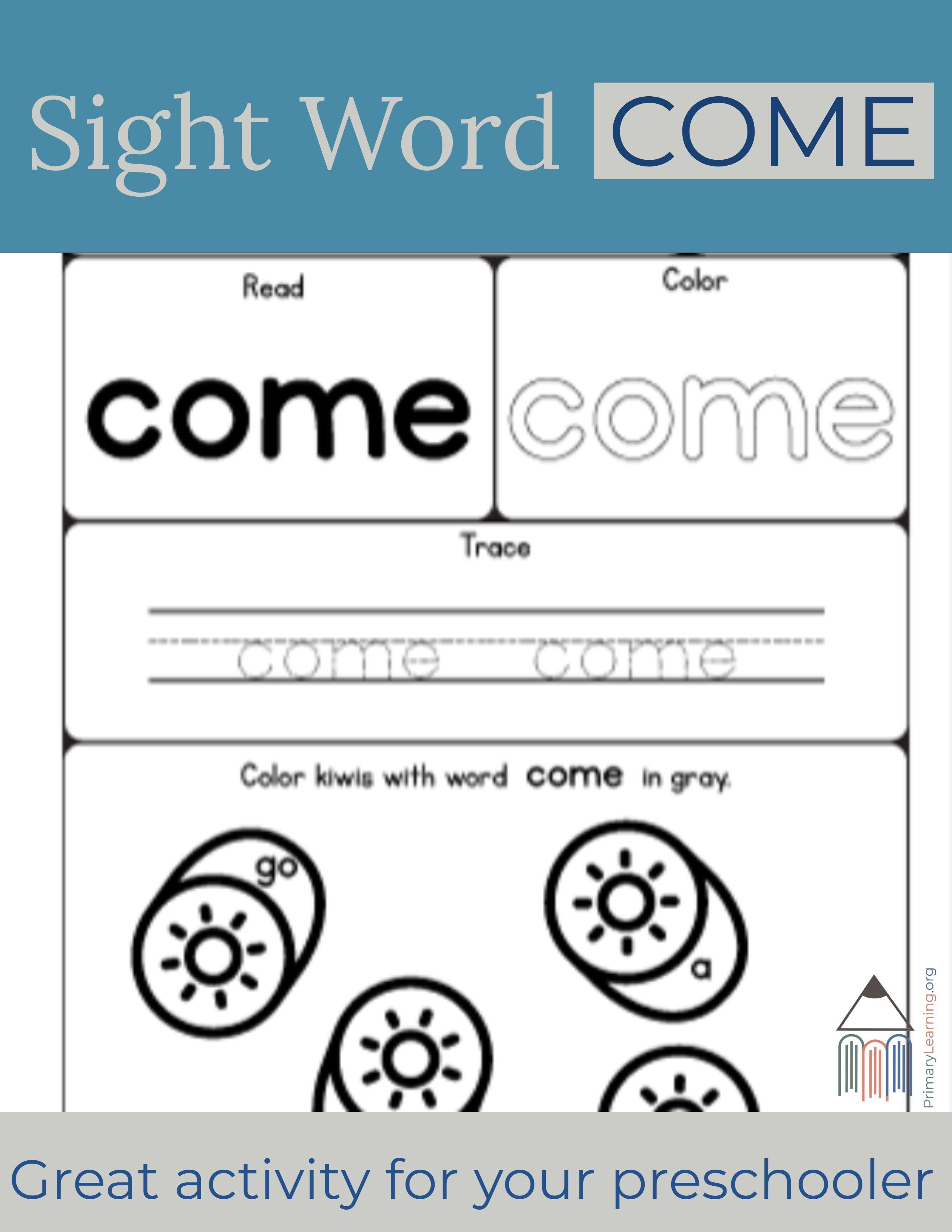 Sight Word Come Worksheet With Images