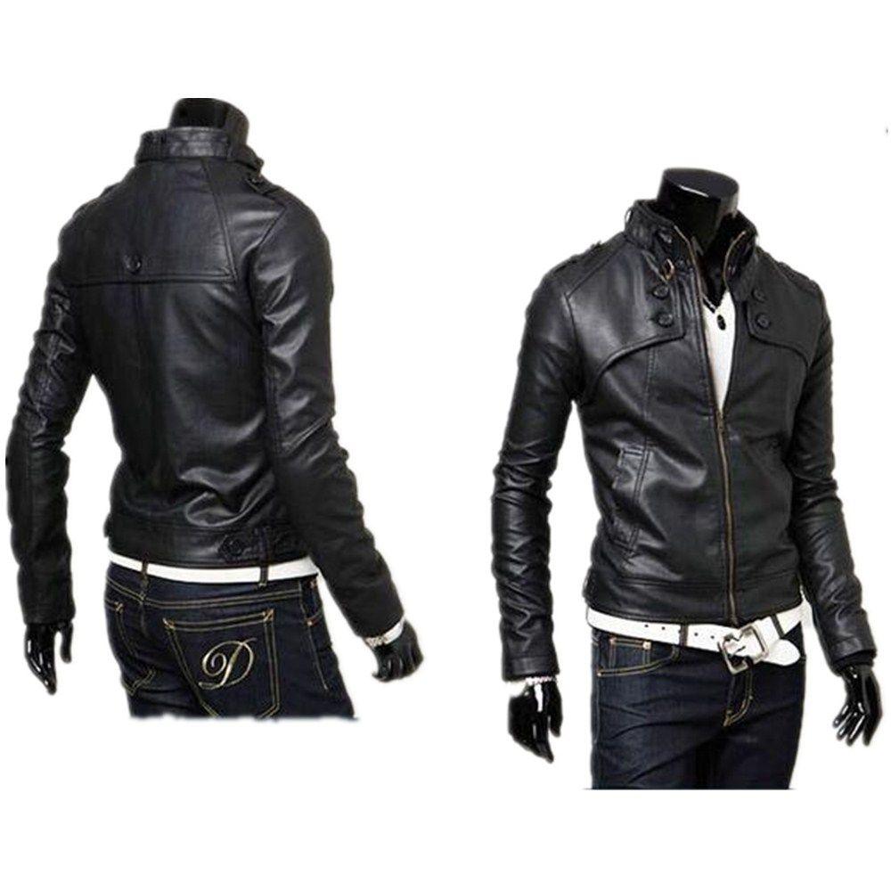 Chaqueta Slim Cuero Leather Negro Collar Compra De Standing Jacket 7xACXqAZwd