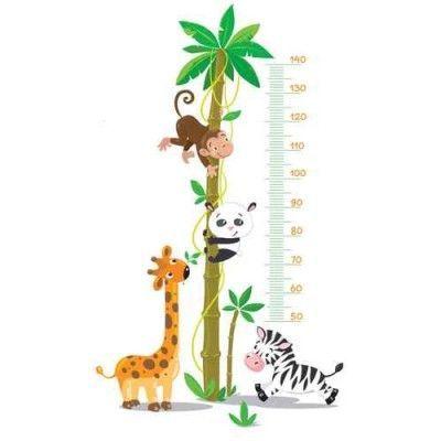 Sticker Toise Bébé Animaux Jungle   jardin d\'enfant   Toise ...