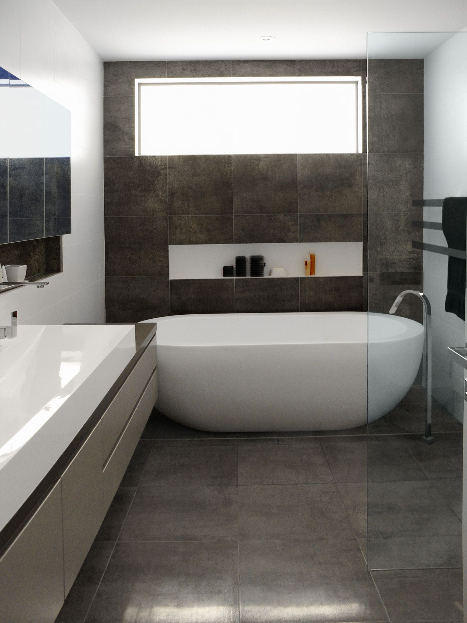 Nice oval freestanding soaker bathtubs on grey tile floors for Grey bathroom tile ideas