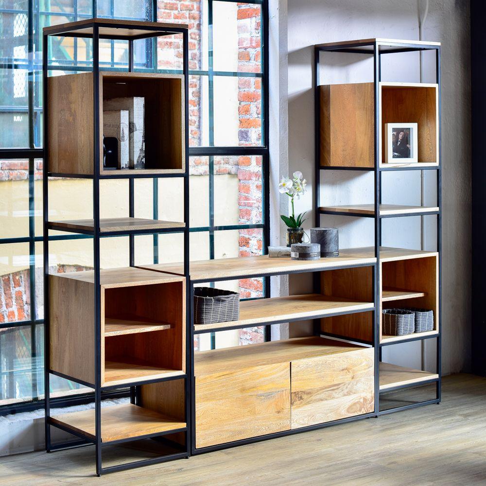 Centro de tv taju mobica hierro y madera pinterest tv centro y estanter as - Muebles rusticos para tv ...