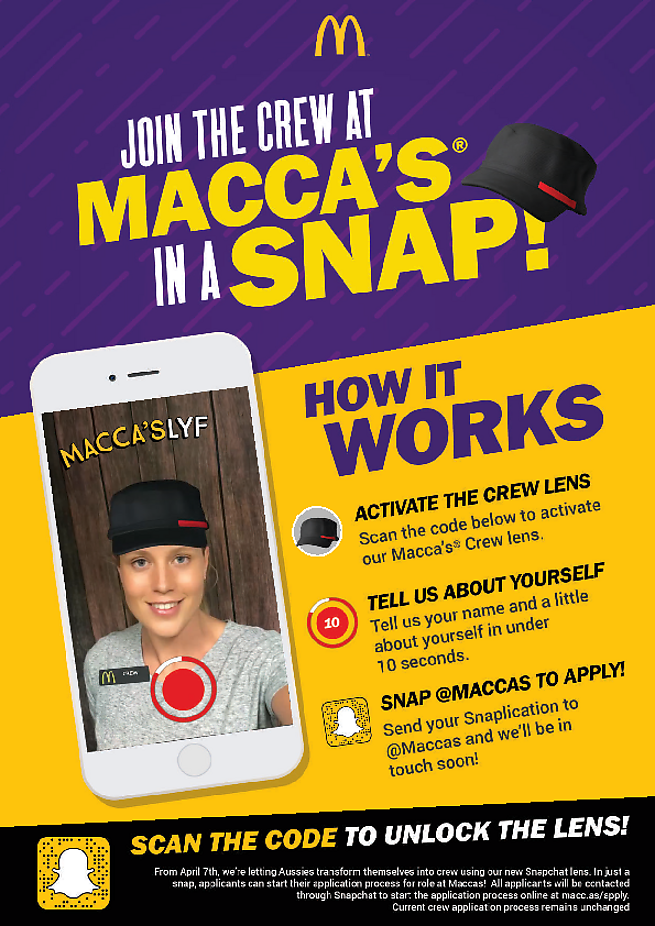 You Can Apply For A Position At Mcdonalds Using Snapchat And A Filter Au Mcdonalds Food Fastfood Delicious Eating Hap How To Apply Mcdonalds Happy Meal
