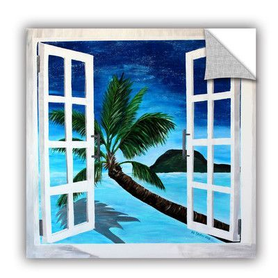 """ArtWall ArtApeelz Palm View Window by Marcus/Martina Bleichner Painting Print on Canvas Size: 18"""" H x 18"""" W x 0.1"""" D"""