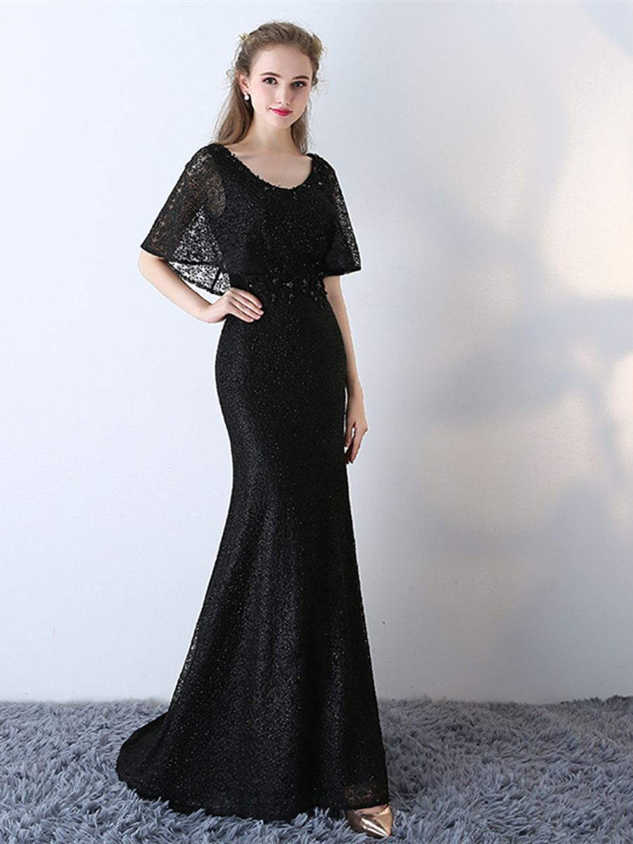 Short sleeve long lace mermaid black prom dress in