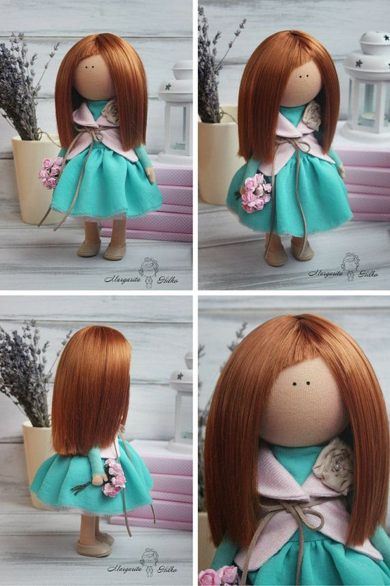 Soft doll handmade green turquoise Decor doll Doll girl American doll Art doll Collectable doll Unique magic doll by Master Margarita Hilko