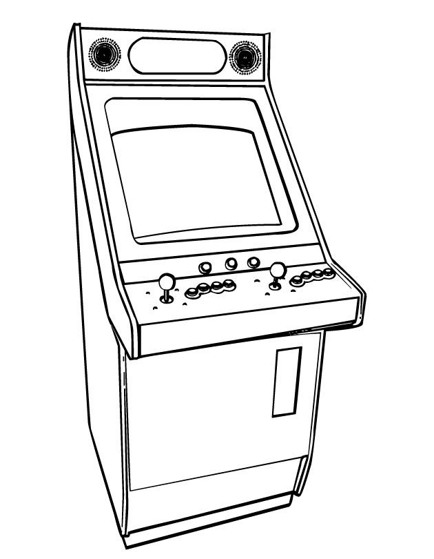 Printable Arcade Video Games coloring page from