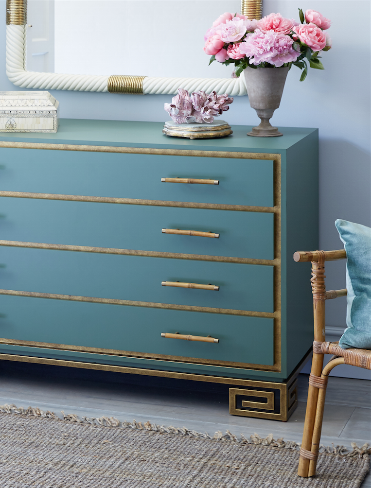 Love the gold Greek key detailing on the feet of this glamorous
