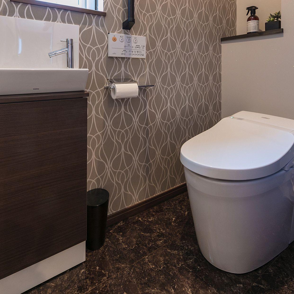 TOTOトイレ/うちの壁紙はこれ!/壁紙/アクセントクロス/サンゲツ壁紙のインテリア実例 - 2017-09-24 18:16:57 |  RoomClip(ルームクリップ) | トイレ アクセントクロス, サンゲツ 壁紙, トイレ 壁紙