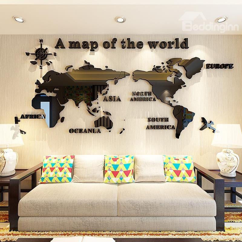3d world map pattern acrylic waterproof sturdy and eco-friendly self