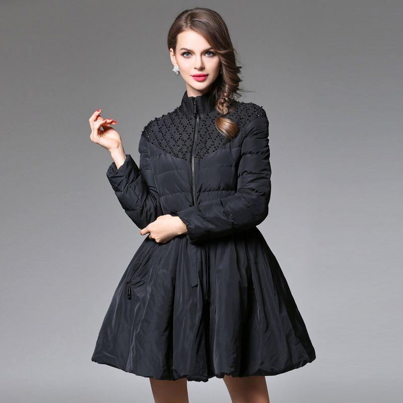 Hot Ladies Winter Coat Long Women Wadded Jacket Autumn Fashion Beading Down Parka Coat Female Outwear Women Jacket AO125