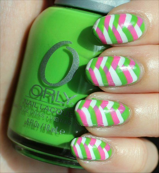 Fishtail Braid Nails Colours: green, pink and white Length: 5-10 ...