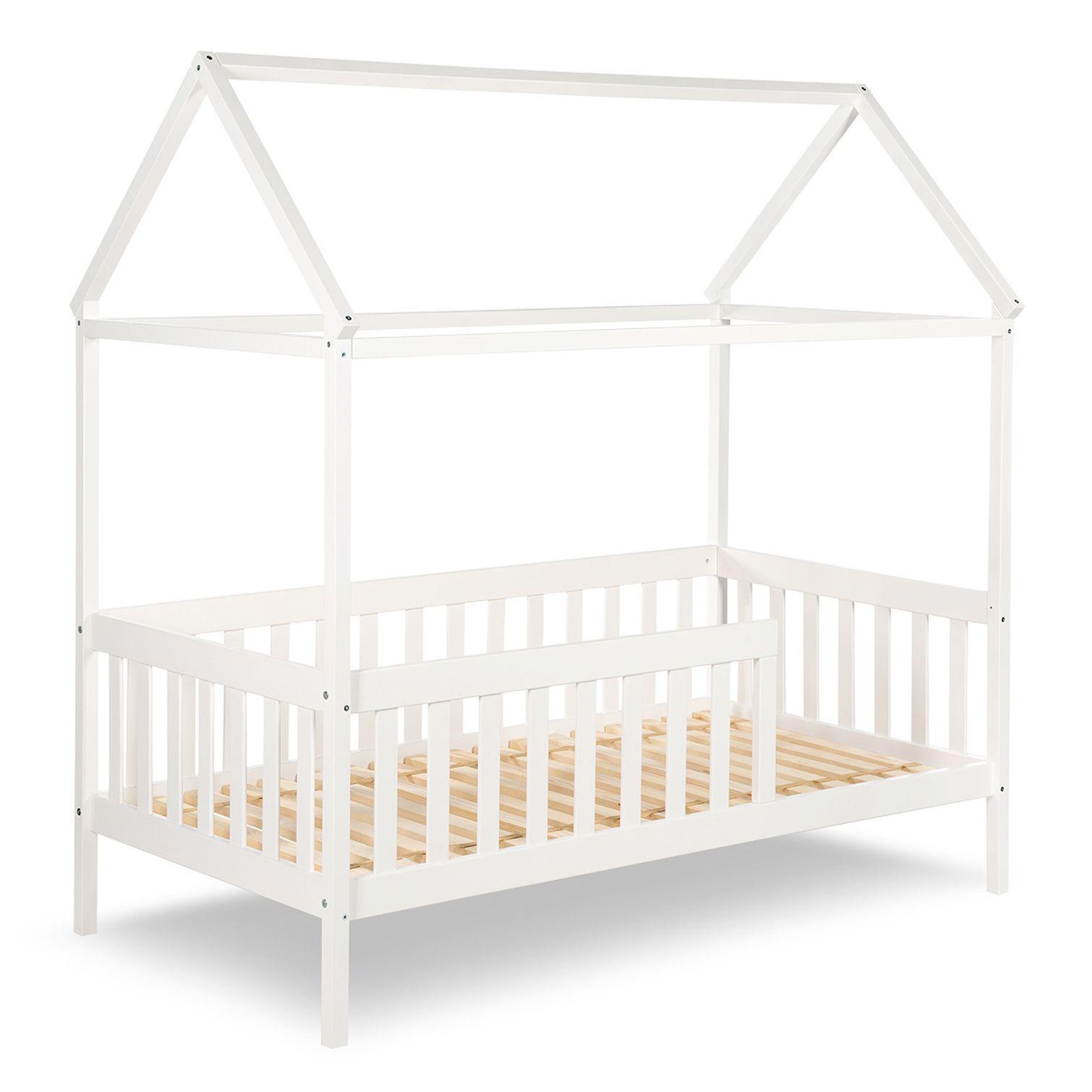 Kinder & Junior Hausbett mit Gitterrand weiß 80x160cm