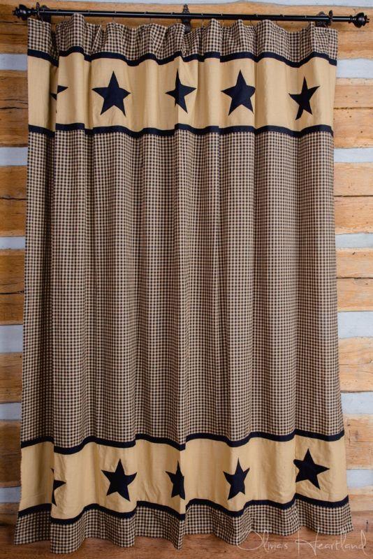 Black Amp Tan Star Shower Curtain Plaid Primitive Country