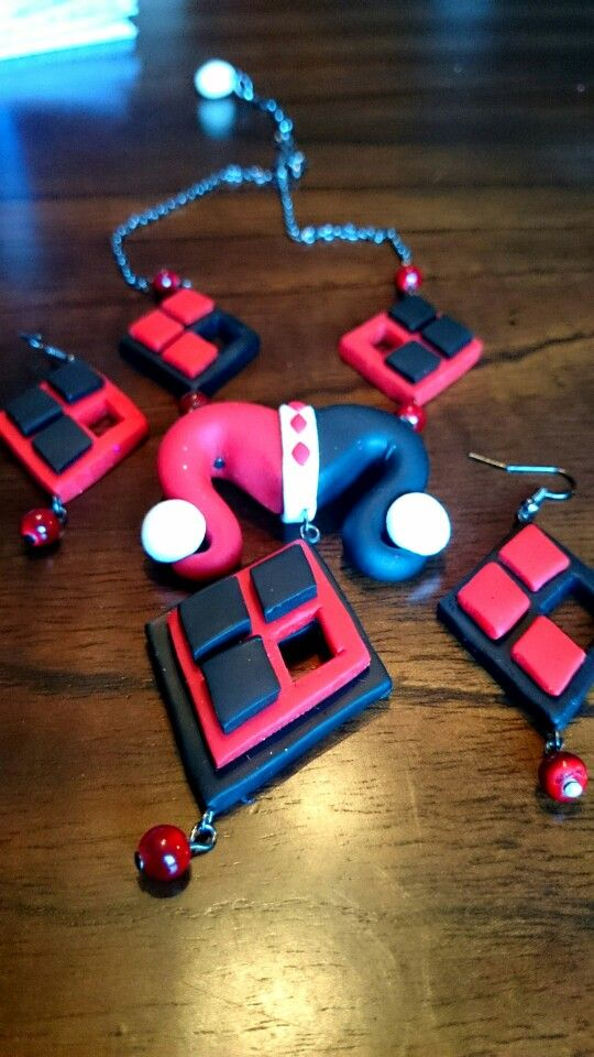 Harley Quinn inspired necklace and matching earrings.
