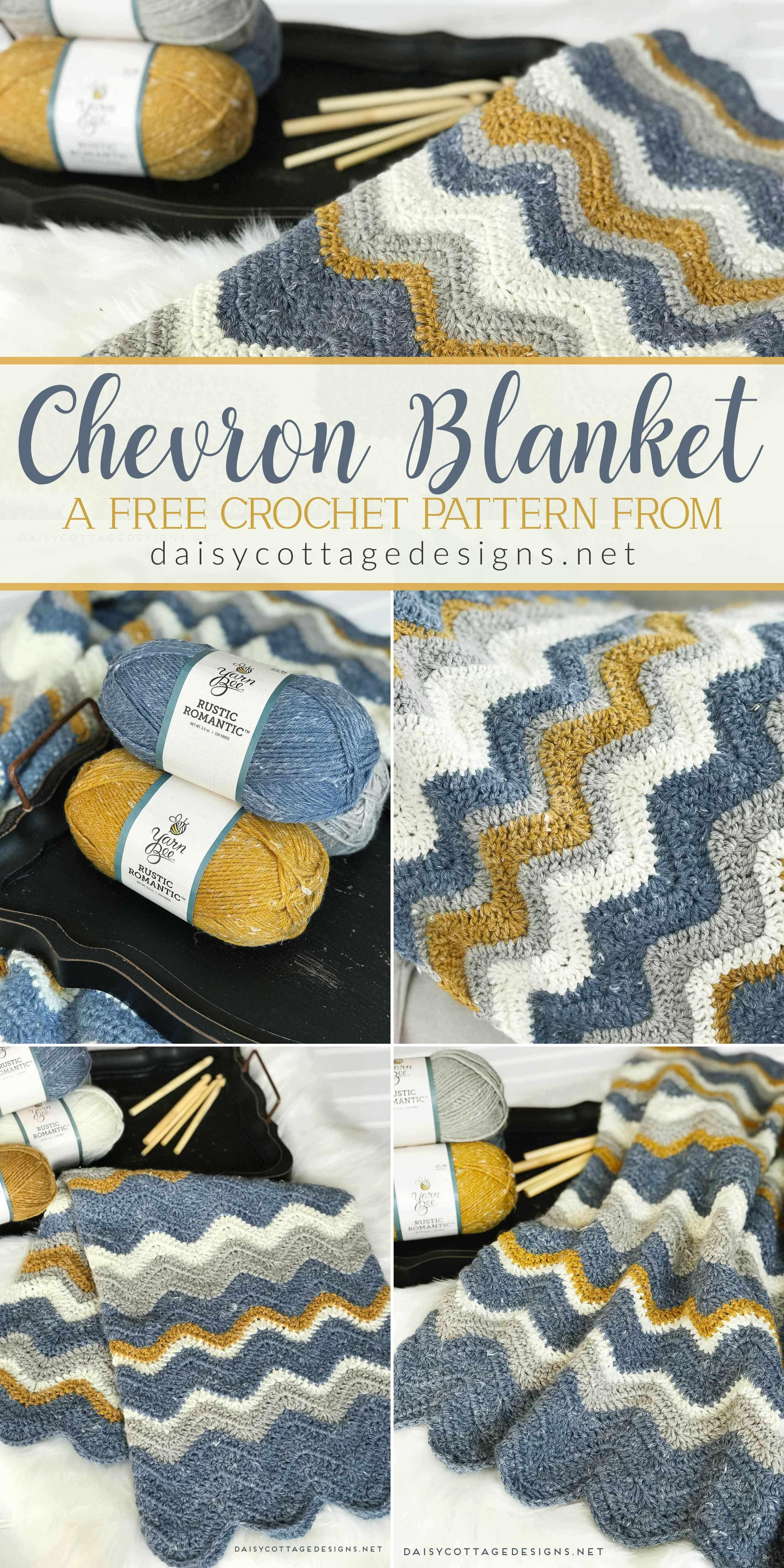 Pretty Chevron Blanket Crochet Pattern | Chevron blanket crochet ...