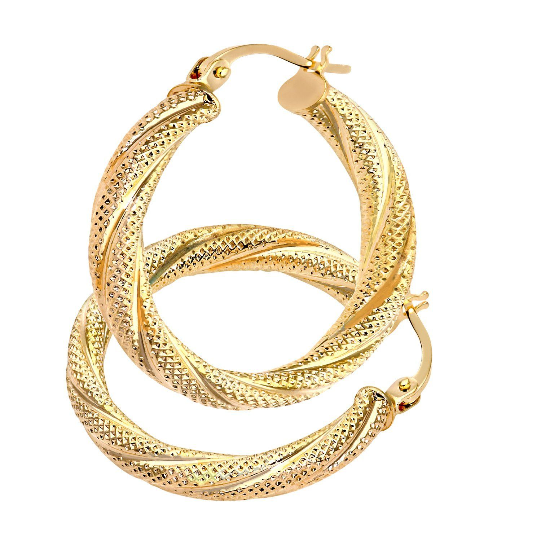 Citerna Ladies 9 ct Yellow Gold Hoop Earrings 0hxET6T0