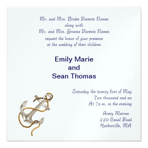 A simple and elegant invitation for a nautical wedding theme features an anchor and blue text for you to personalize.