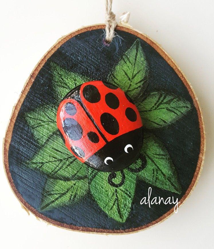 Tas Boyama Ugur Bocegi Ladybug Boyali Kayalar Sanat Cizilecek
