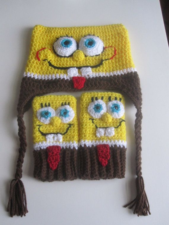 Crochet Spongebob Squarepants Hatglovesset By Francesca4me