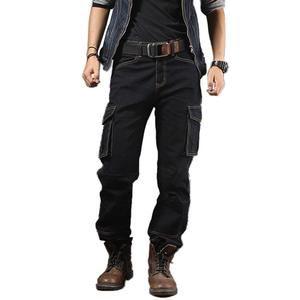 Men Multi Pocket Denim Biker Casual Motorcycle Workwear Cargo Jeans Fashion Pant