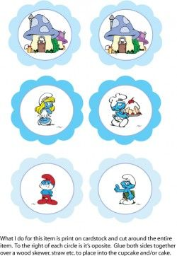 Smurfs Cupcake Toppers Party Decorations