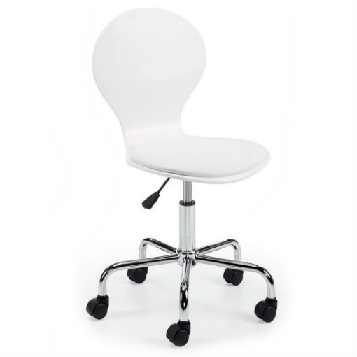 Silla oficina jazz en color blanco con ruedas y altura for Silla oficina madera