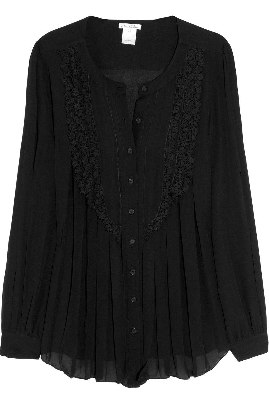 c14f0dbad1209c OSCAR DE LA RENTA Lace-trimmed silk-chiffon blouse BEAUTIFUL ...