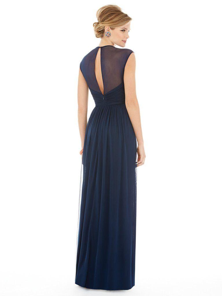 Alfred Sung by Dessy D705 Chiffon Cap Sleeve Draped Bodice Bridesmaid Dress