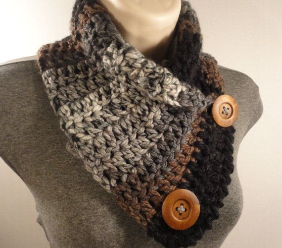 Crochet Scarf, Crochet Cowl, Neck Warmer with Buttons in Gray Black ...