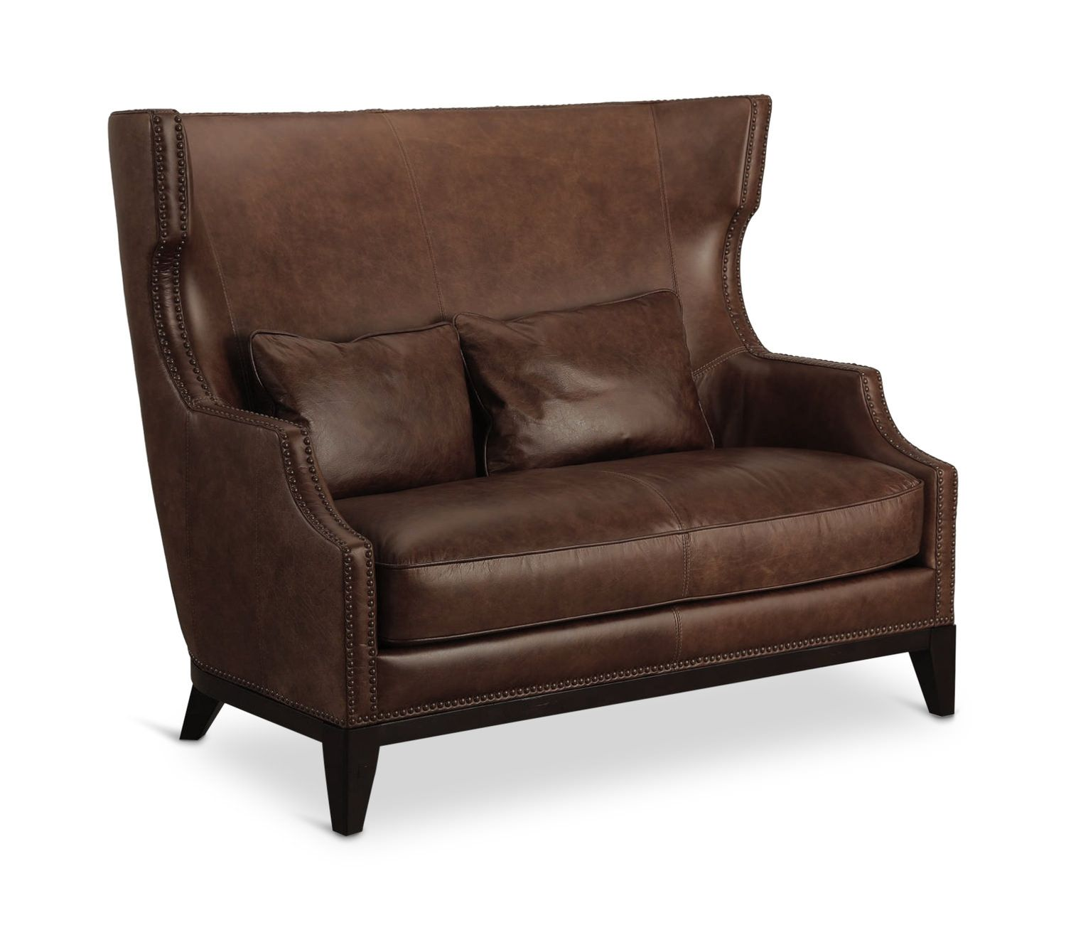 Herit Leather High Back Settee With