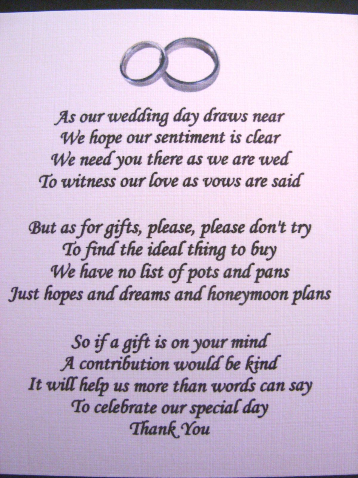 20 Wedding Poems Asking For Money Gifts Not Presents Ref No 4 Ebay