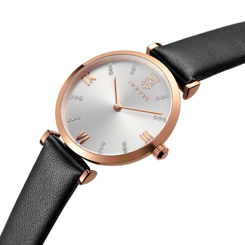 bd176a5304 Amazon | ROCOS レディース腕時計 クォーツ アナログ 防水 時計 女性用 薄型 シンプル 本革 う