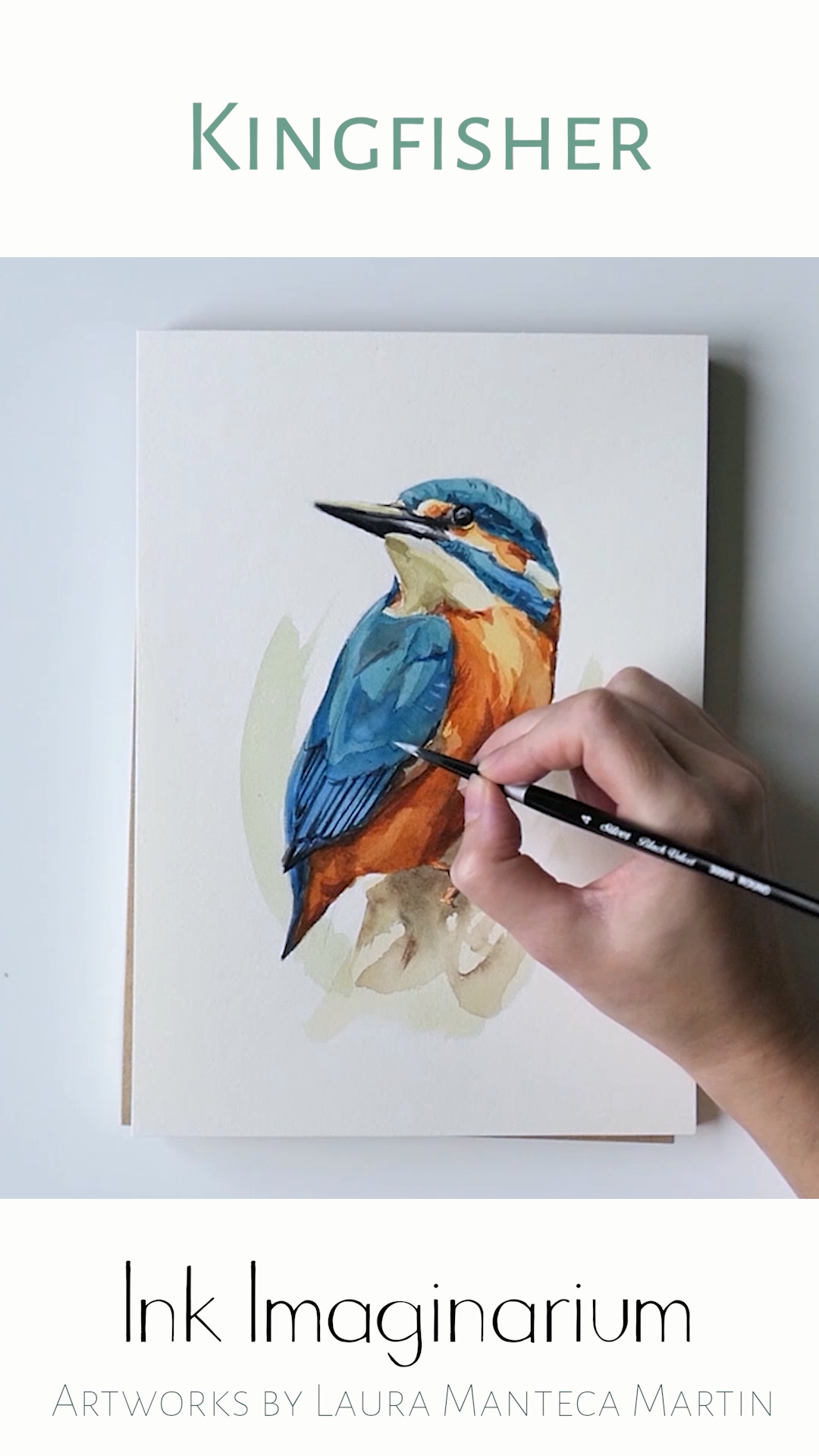 Do you love little colorful birds and the magic of watercolor? At Ink Imaginarium blog you can find all the videos of the last collection, a series of exotic birds inspired by tropical vibes and nature, including this little Kingfisher. All the original watercolor paintings are created by the visual artist Laura Manteca Martin. #tropicalbirds #exoticbirds #colorfulbirds #birdlovers #broadbill #paintingprocess #paintingvideo #watercolor #watercolorlove
