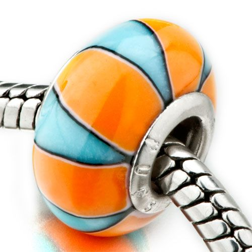 Orange Pale Blue Stripes Fits Murano Glass Beads Charms Bracelets Fit All Brands Pugster.com