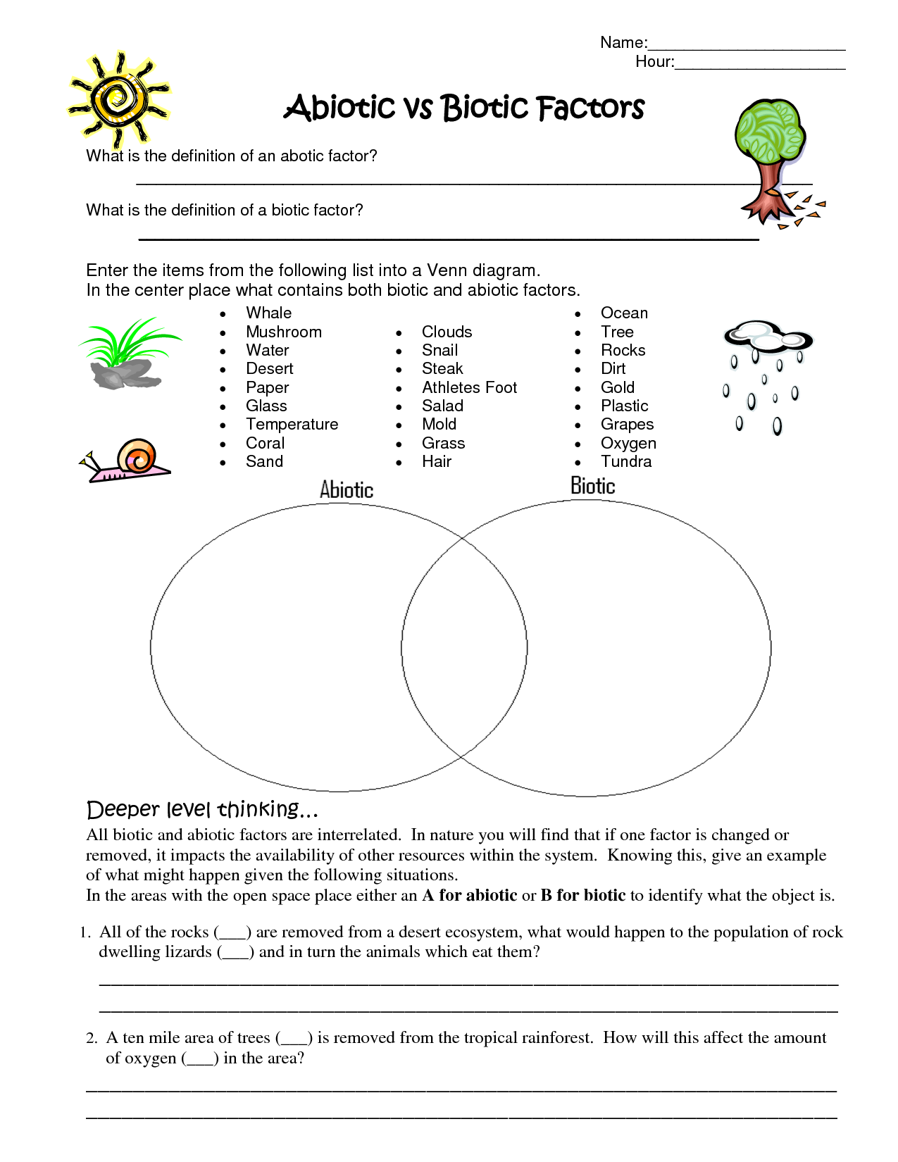 worksheet Ecosystems Worksheet blendspace understanding why something is classified as biotic de recherche dimages pour and abiotic factors worksheet