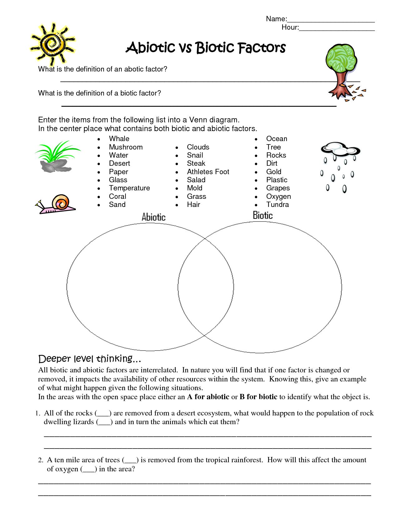 Understanding Why Something Is Classified As Biotic Or Abiotic   Science  worksheets [ 1650 x 1275 Pixel ]