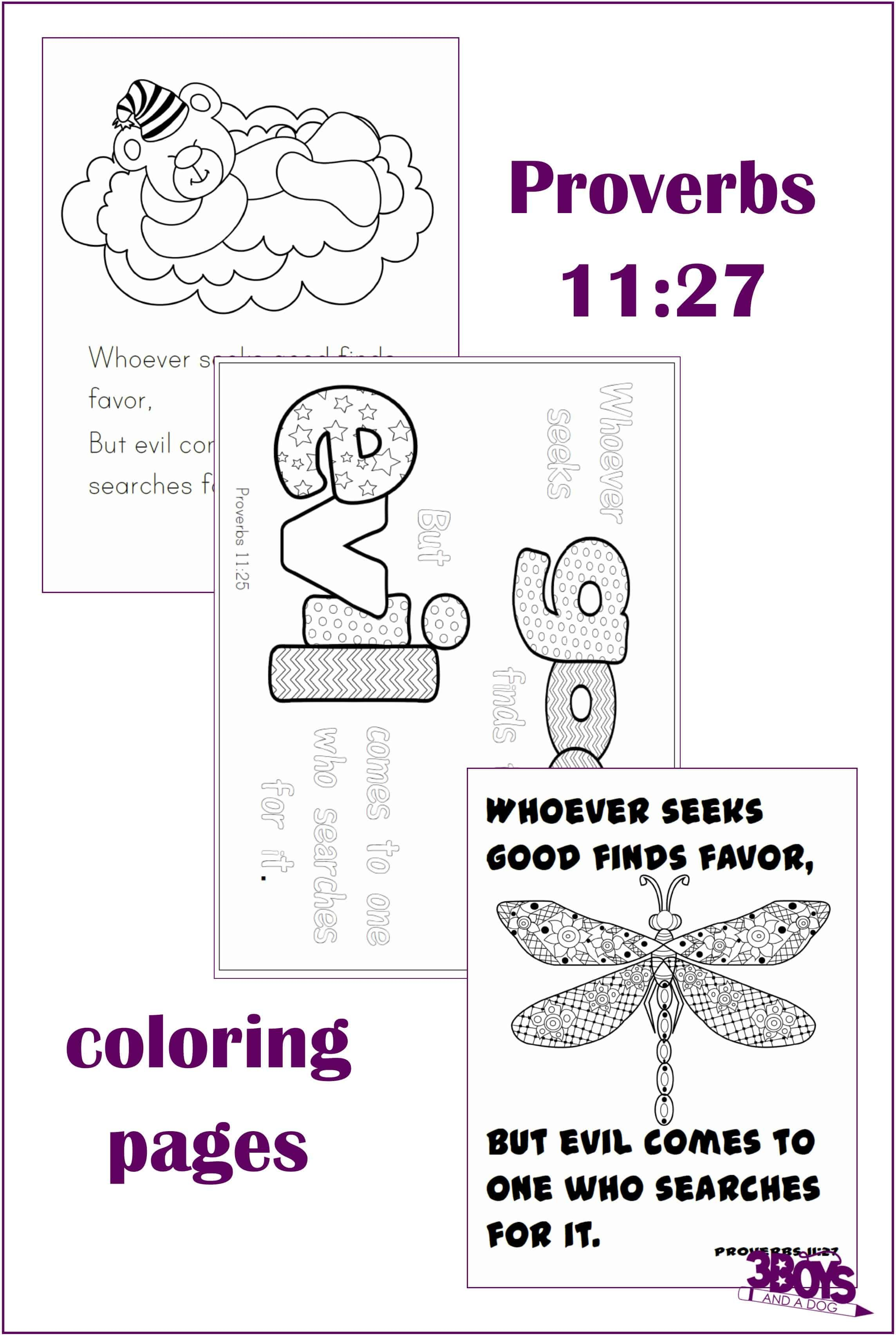Proverbs 11 27 Coloring Pages