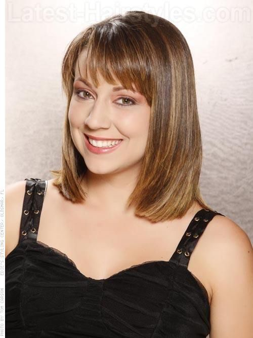 Hairstyles For Medium Length Hair Bangs : Triangular layers mid length silky style with bangs