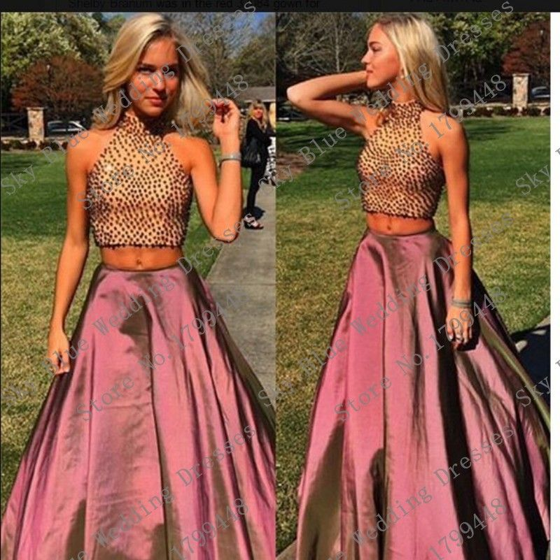 Elegant High Neck Beaded A Line Plus Size Two Piece Prom Dresses