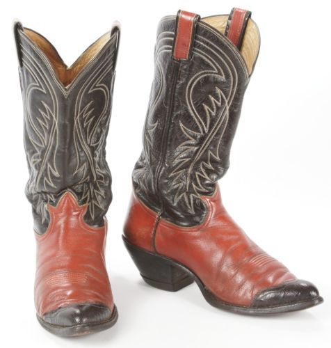4bca89d74df Vintage Tony Lama Red Black Teju Lizard Wing Tip Leather Cowboy ...