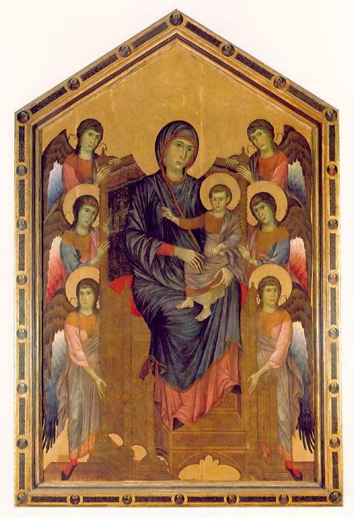 Cimabue Madonna Enthroned With Angels And Prophets : cimabue, madonna, enthroned, angels, prophets, Madonna, Enthroned, Cimabue., Tempera, Wood., Italy,, Century., Enormous, Painting, (12ft), Precedent, Monumenta…, Angel, Medieval