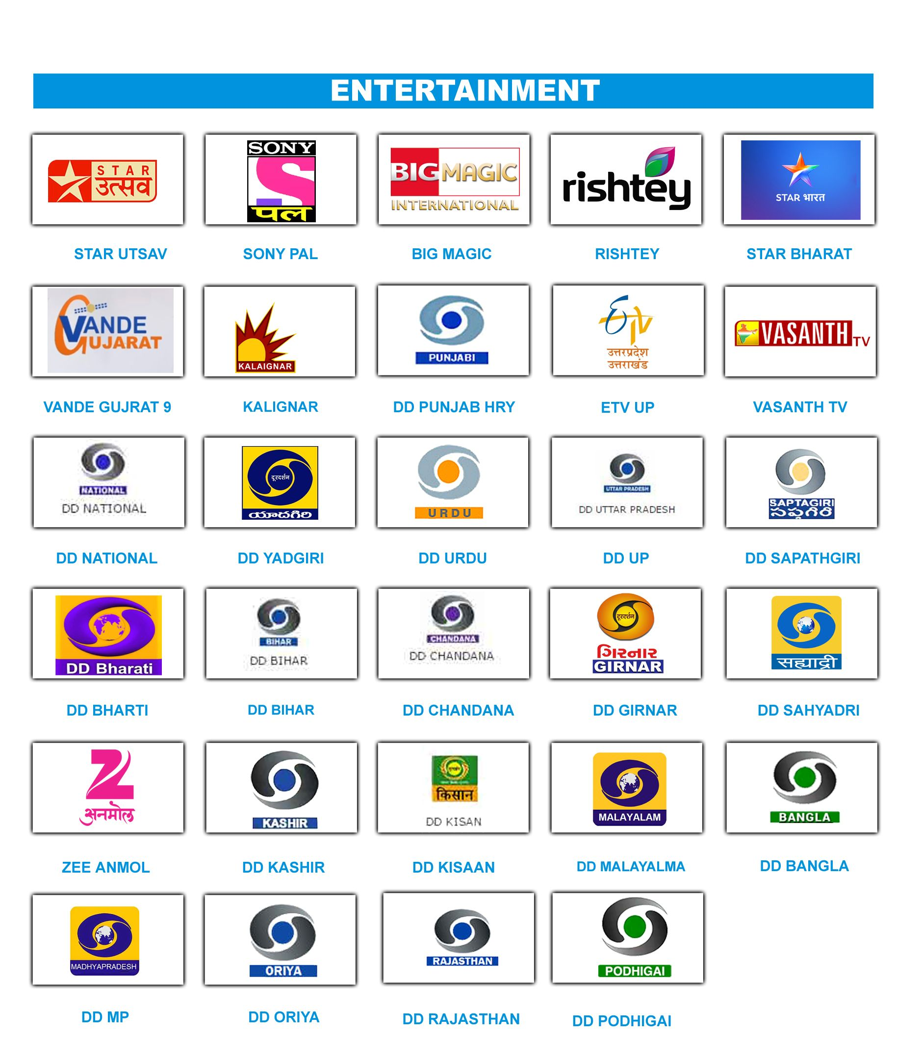 some Entertainment channels | Channel List For Free To Air Set Top