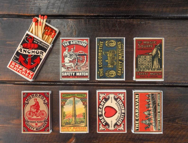 Set of 8 MATCHBOX various design made in SWEDEN vintage