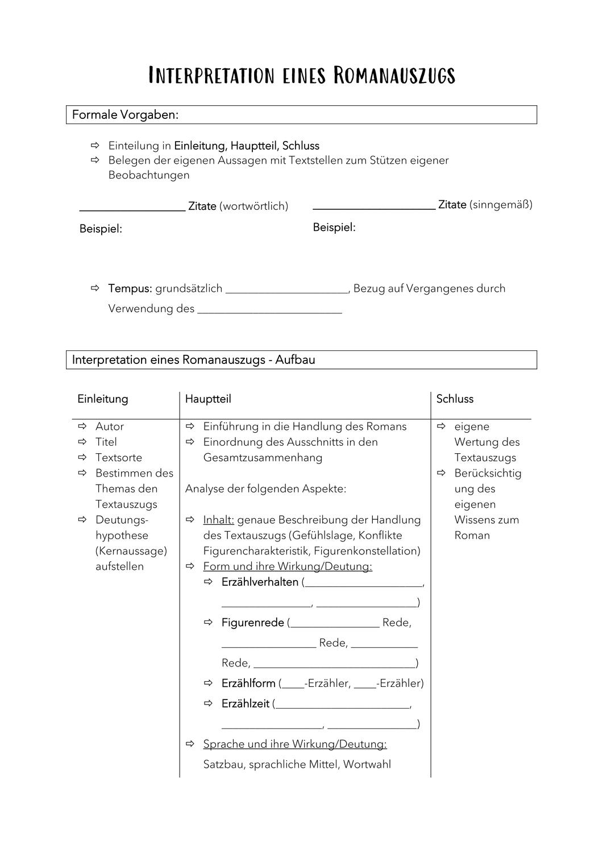 Ubersicht Analyse Eines Romanauszugs Unterrichtsmaterial Im Fach Deutsch In 2020 Deutsch Nachhilfe Bildungssprache Auszug