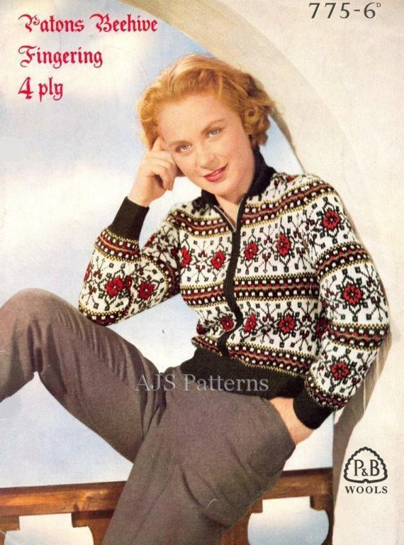 PDF Knitting Pattern for a Traditional German Design Fair Isle Jacket - 1950&...