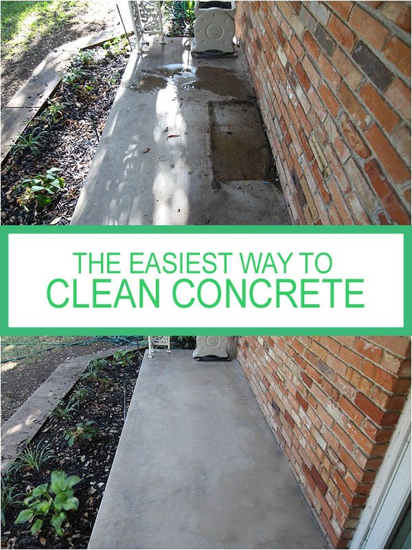 Diy How To Clean Concrete Patio The Easy Way No Weird Chemicals And No Powerwasher Needed Learn How To Re Clean Concrete House Cleaning Tips Cleaning Hacks