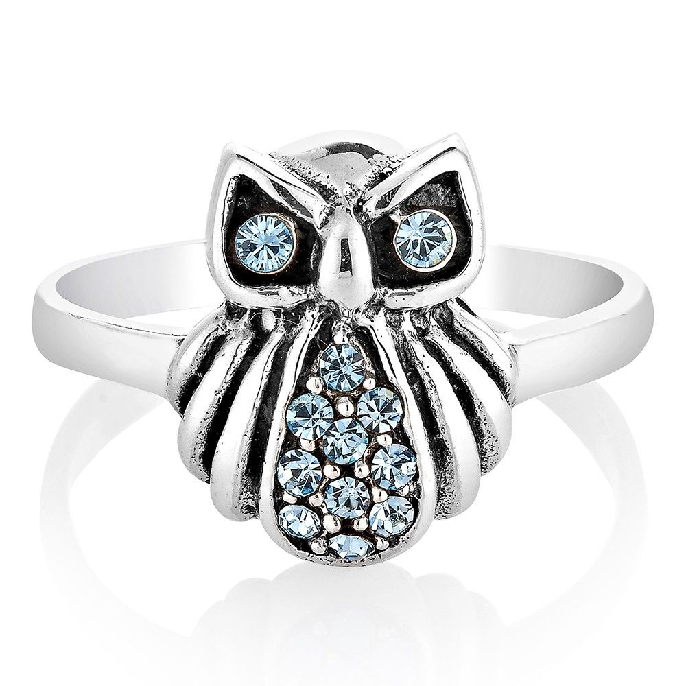 925 Sterling Silver Blue Cubic Zirconia Cz Blue Owl Bird Band Ring Jewelry  Size 8
