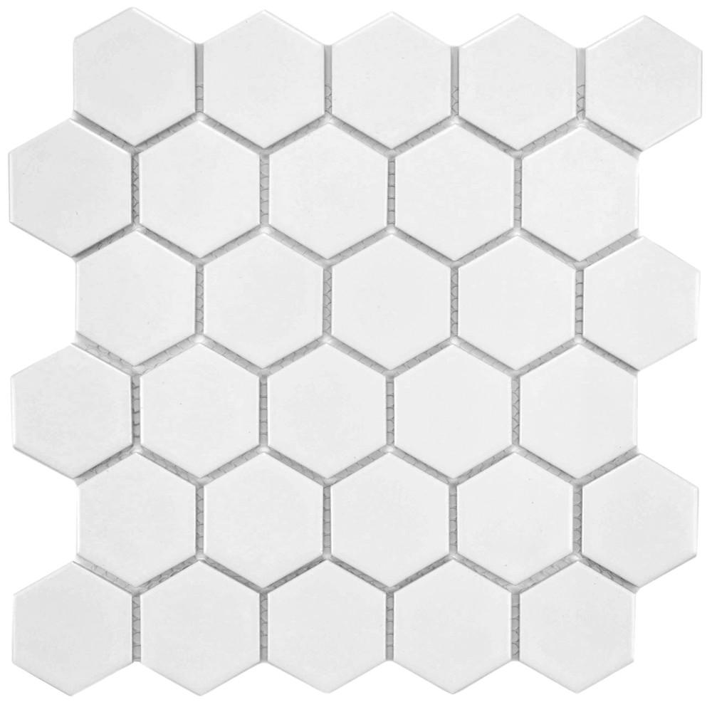 Merola Tile Metro Hex 2 In Matte White 10 1 2 In X 11 In X 6 Mm