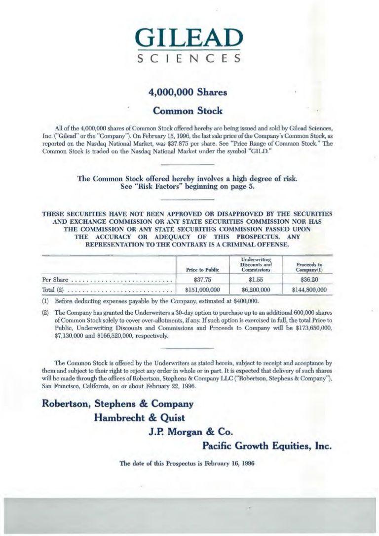 Gilead Sciences Stock Offering Prospectus 1996-- Excerpts
