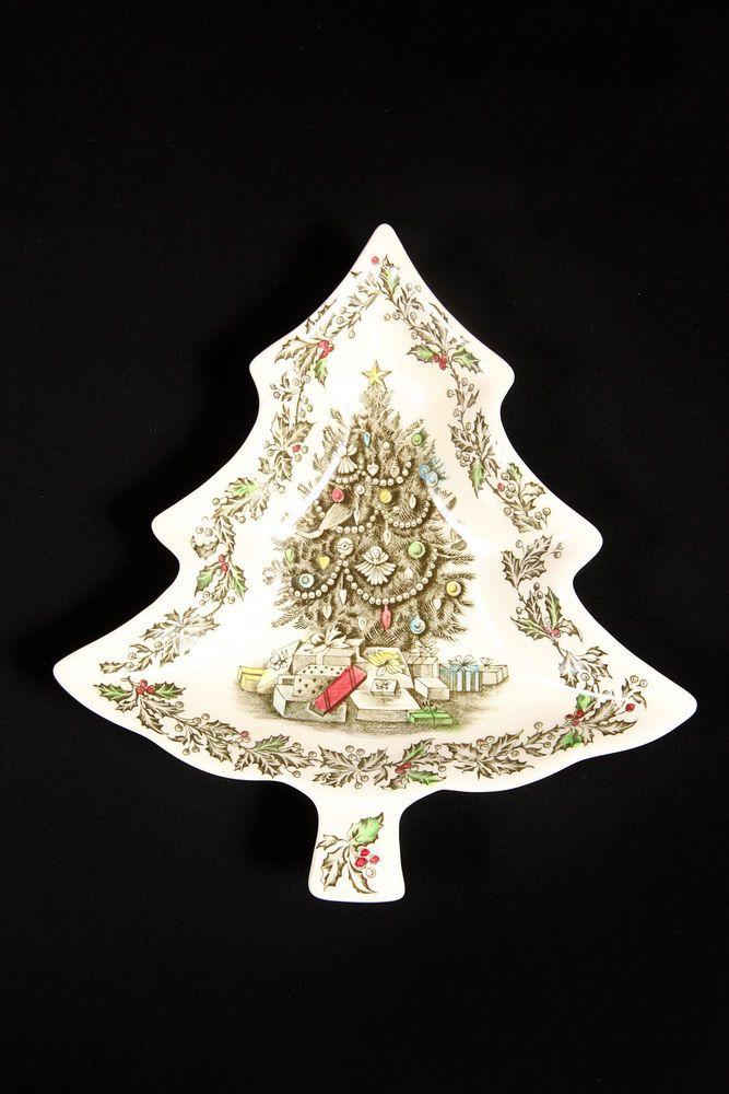 Johnson Brothers MERRY CHRISTMAS Tree Shaped Holiday Decor Dish 2053415 #JohnsonBrothers